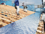 屋根シート貼り